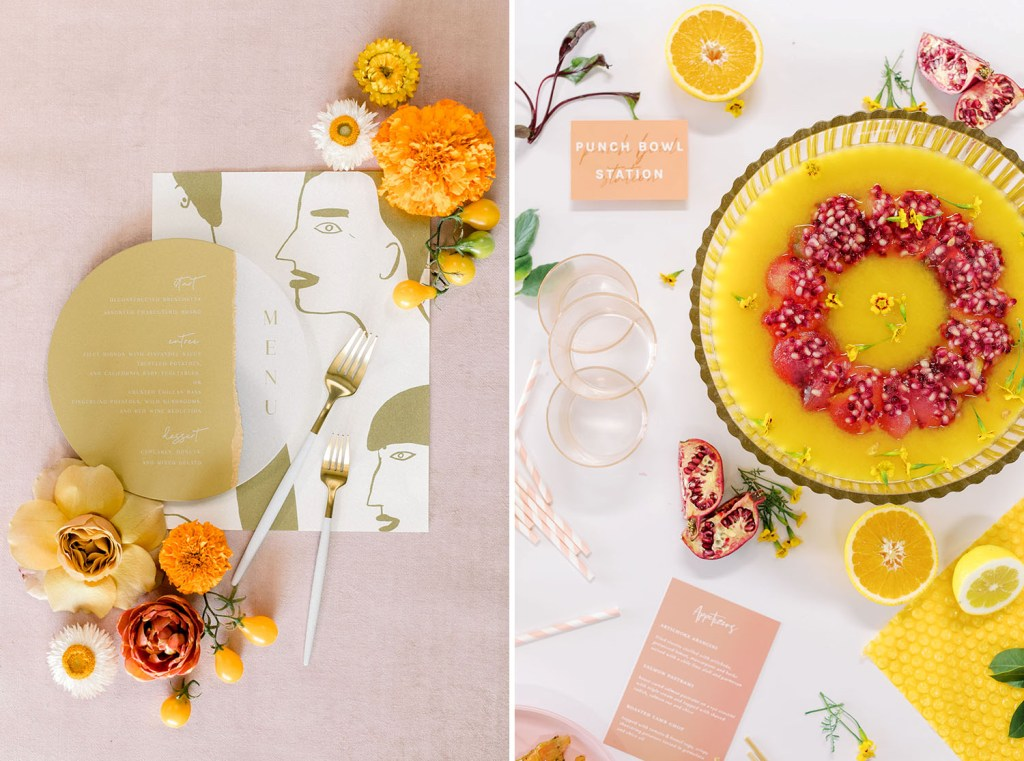 The wedding stationery was done with blush and peach stationery, bright blooms around