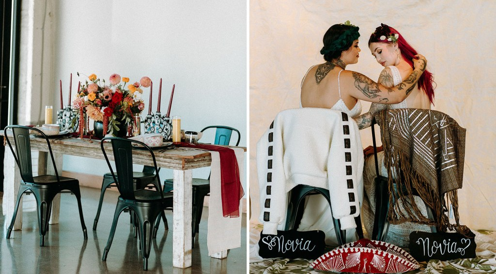The wedding tablescape was done with an uncovered table, bright blooms, burgundy candles and layered table runners