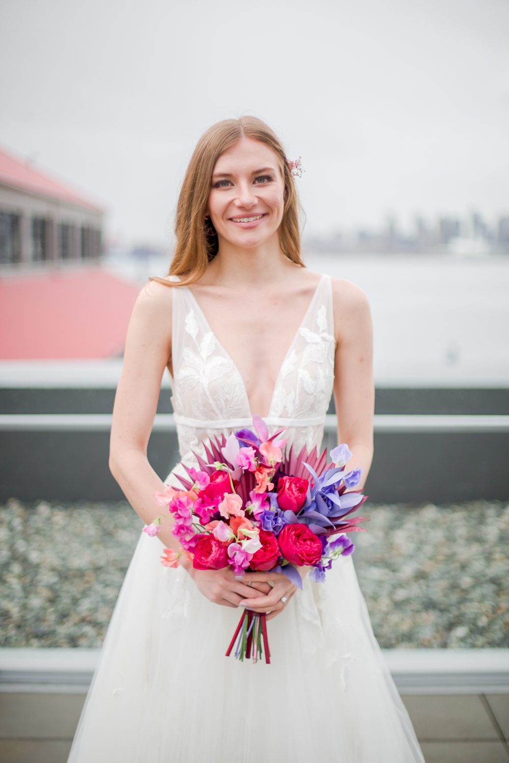 The bridal beauty was subtle accented and highlighted with simple hair and a touch of dried blooms