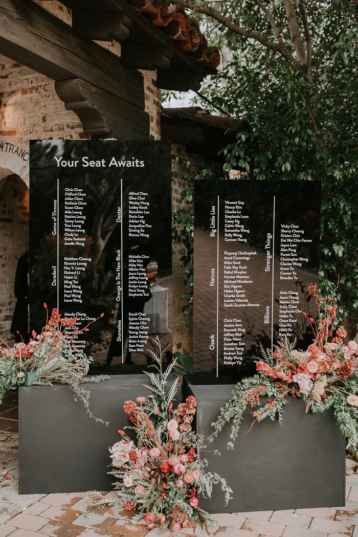 a modern wedding seating chart design