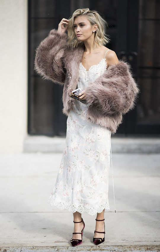 a gorgeous modern glam bridal look with a lace floral midi dress, burgundy velvet shoes and a mauve fuzzy fur coat