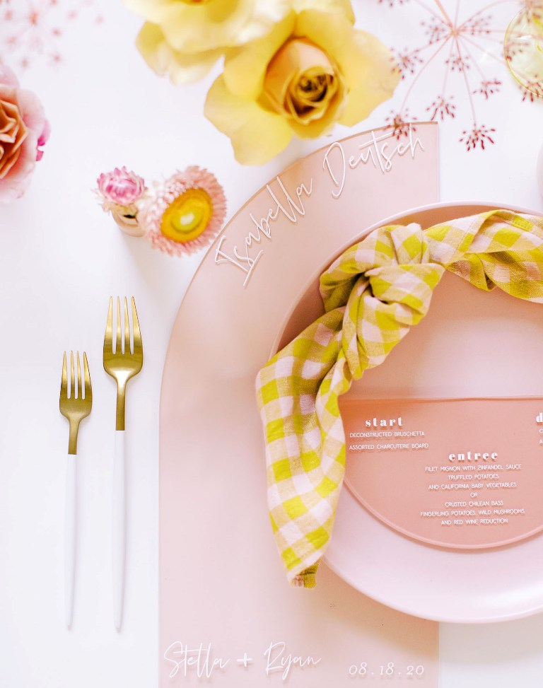 The plates and chargers were blush ones, mustard blooms and plaid napkins finished off the look