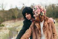 21 a vintage brown faux fur coat for a 60s inspired wedding, a warm piece to rock outside