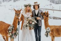 23 a brown shearling coat with white faux fur put on over a wedding dress is a comfortable and beautiful idea