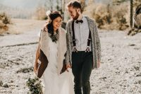 25 a plain boho wedding dress plus a brown shearling coat with faux fur in neutrals to complete a boho bridal look