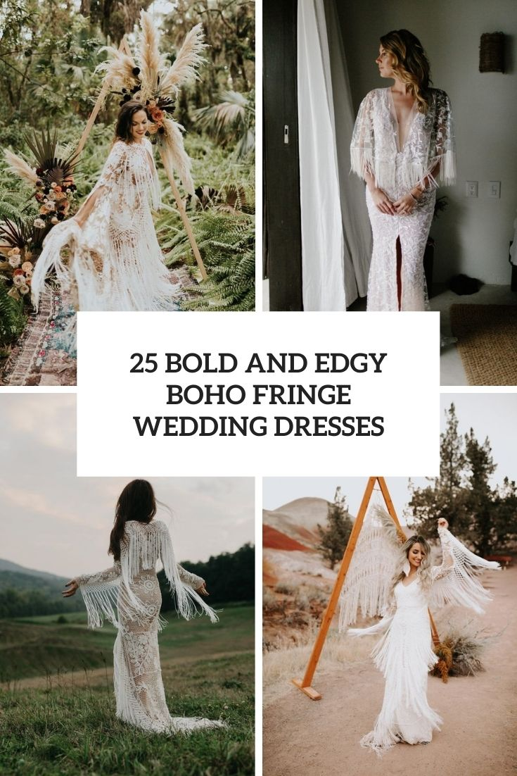 bold and edgy boho fringe wedding dresses cover