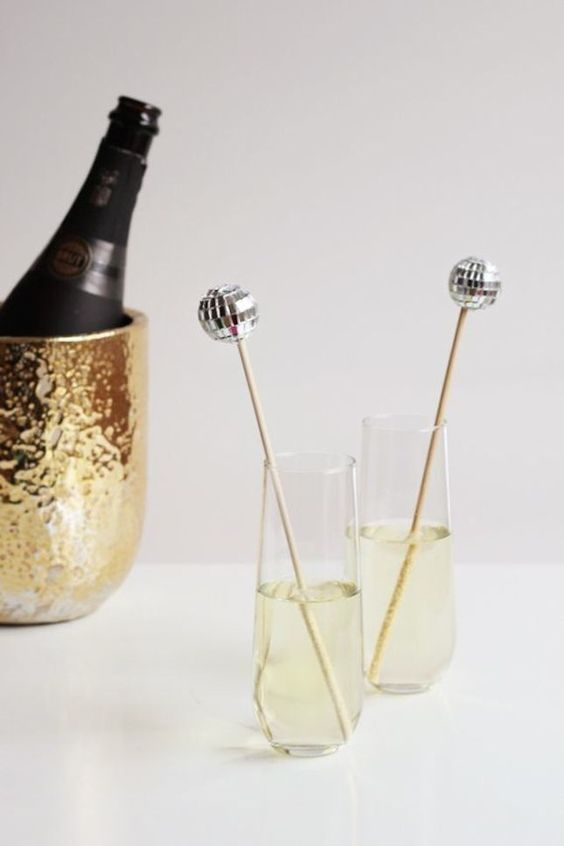 make a set of disco ball drink stirrers for your New Year's Eve wedding or for just glam and fun one