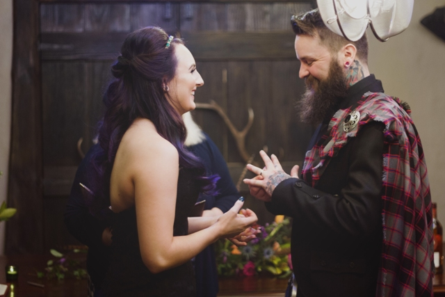 Alanna and Nuge did a traditional ritual - handfasting and tied the knot of their family tartans