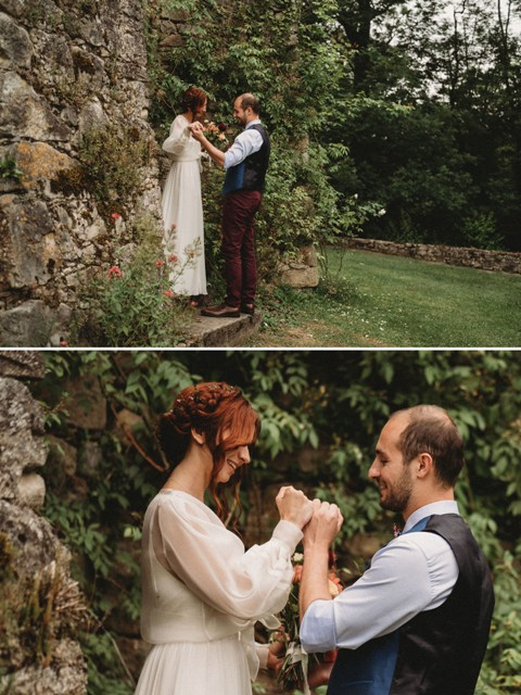 The groom were dressed in a blue vest, a light blue button down shirt, marsala trousers, a printed bow tie and brown leather shoes