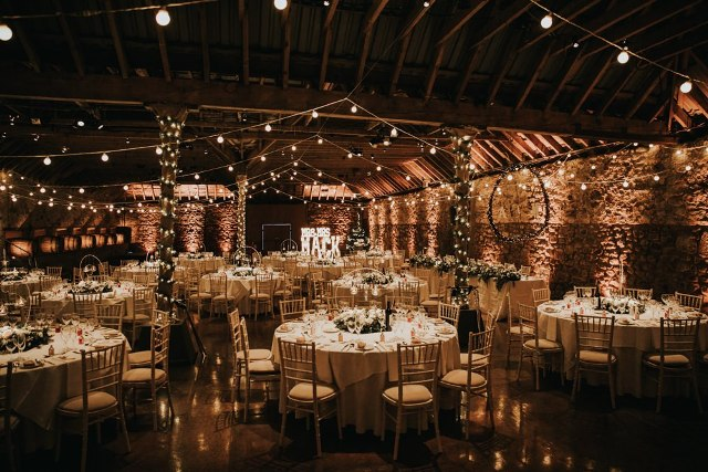 The mother of the bride and the groom's mother decorated the venue with blush florals