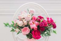 a refined ombre wedding bouquet from light pink and blush to hot pink and fuchsia plus blush ribbons is wow