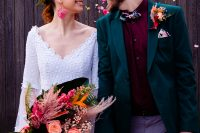 01 This bright modern tropical wedding shoot is infused with bold colors and prints