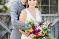 01 This couple went for a bright summer wedding at a farm, with relaxed touches and bold bridesmaid dresses