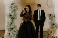 01 This creative and bold Halloween wedding shoot is modern, gothic and Addams' Family inspired