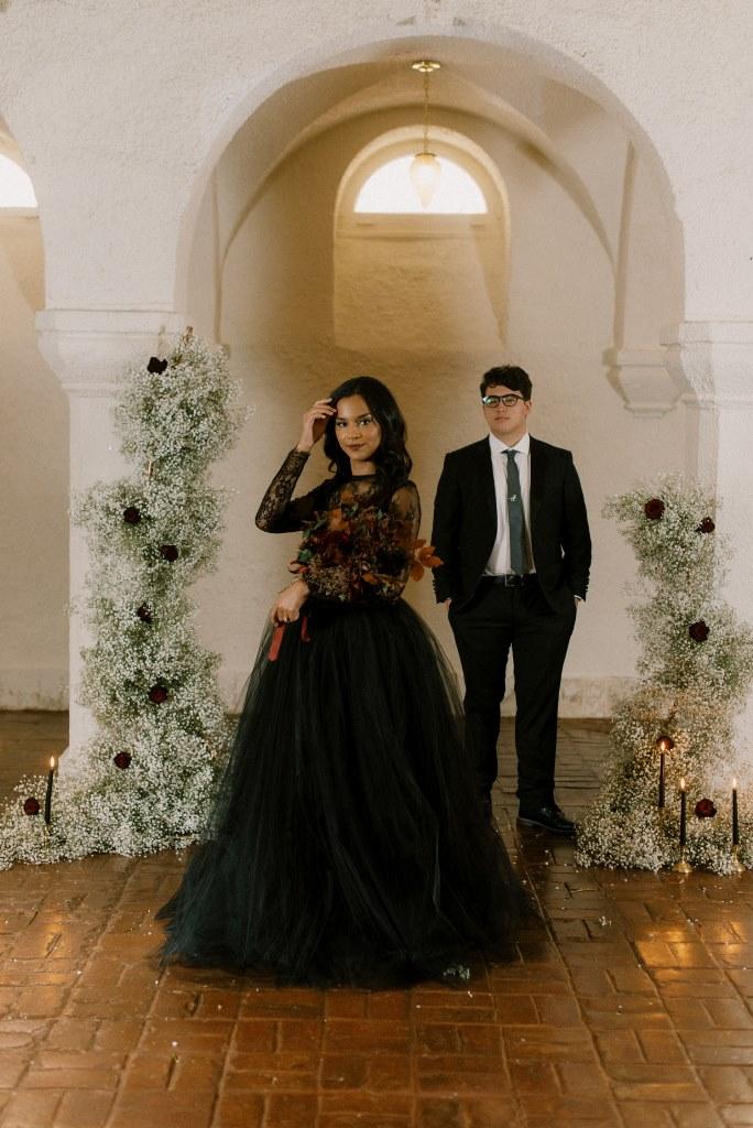Modern Gothic Halloween Wedding Shoot