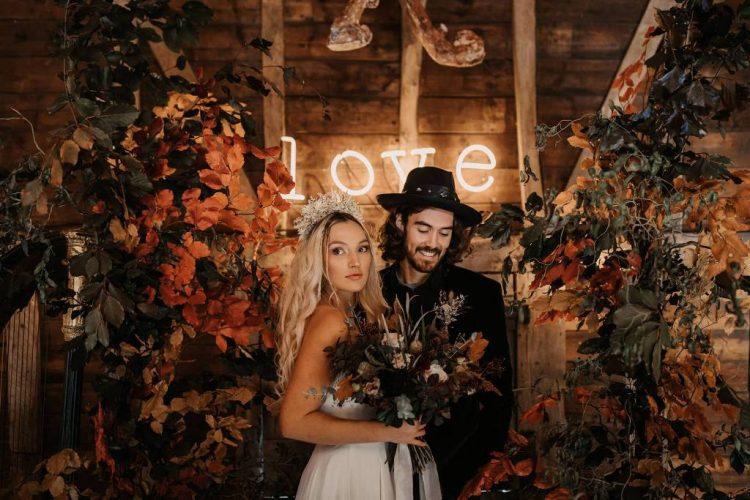 Ultra-Modern Halloween Wedding Shoot With Autumn Flowers