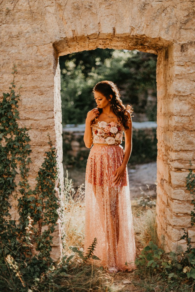 French Castle Wedding Shoot With A Bride Wearing A Floral Bodice
