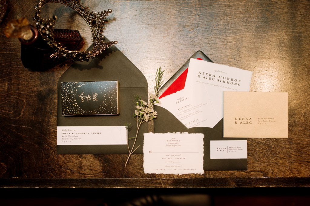 The wedding stationery suit was done in black and white, with a raw edge and chic sparkling cards