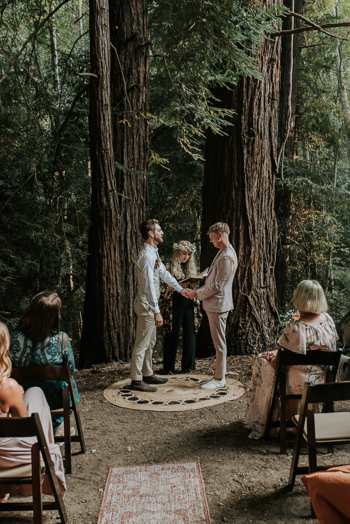 Their wedding ceremony took place in the forest as they planned, the forest itself was a perfect backdrop and didn't need any decor