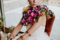 bride in a gorgeous blooming cape