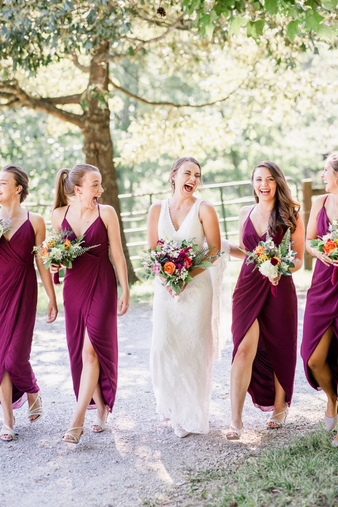 The bridesmaids were rocking purple tulip dresses and silver heels