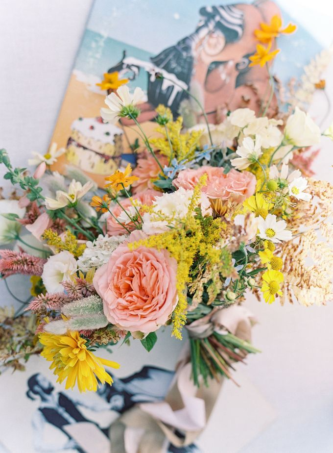 The wedding bouquet was super bright, too, with pink, yellow and mauve blooms and wildflowers