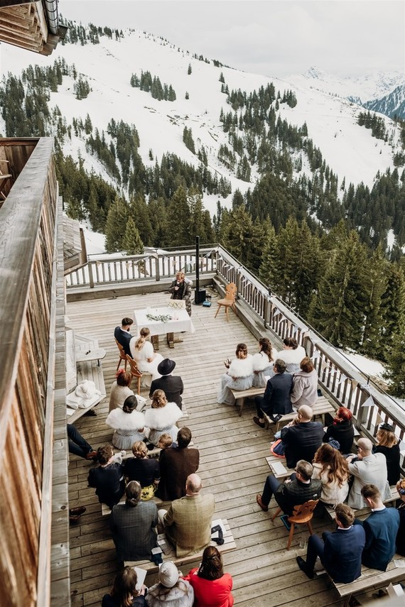 The ceremony was an outdoor one