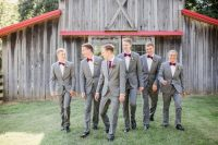 04 The groomsmen were rocking grey suits, purple bow ties and black shoes