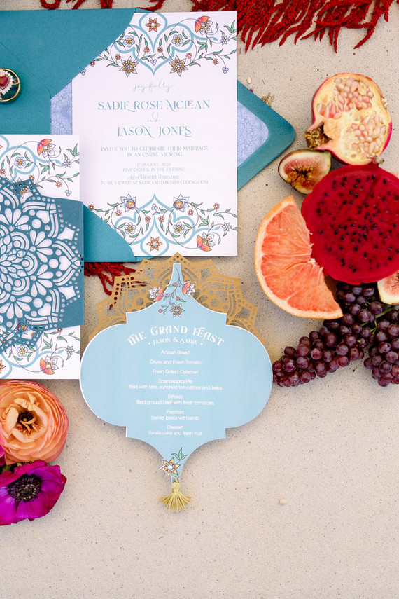 The wedding invitation suite was truly Moroccan, with characteristic patterns and cutouts