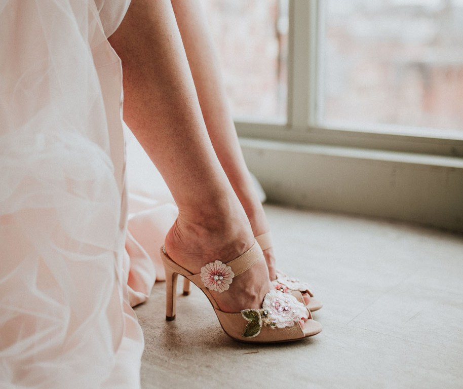 chic floral wedding shoes