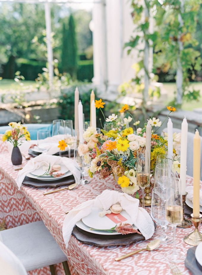 Candles and bright blooms helped to create a mood at the table
