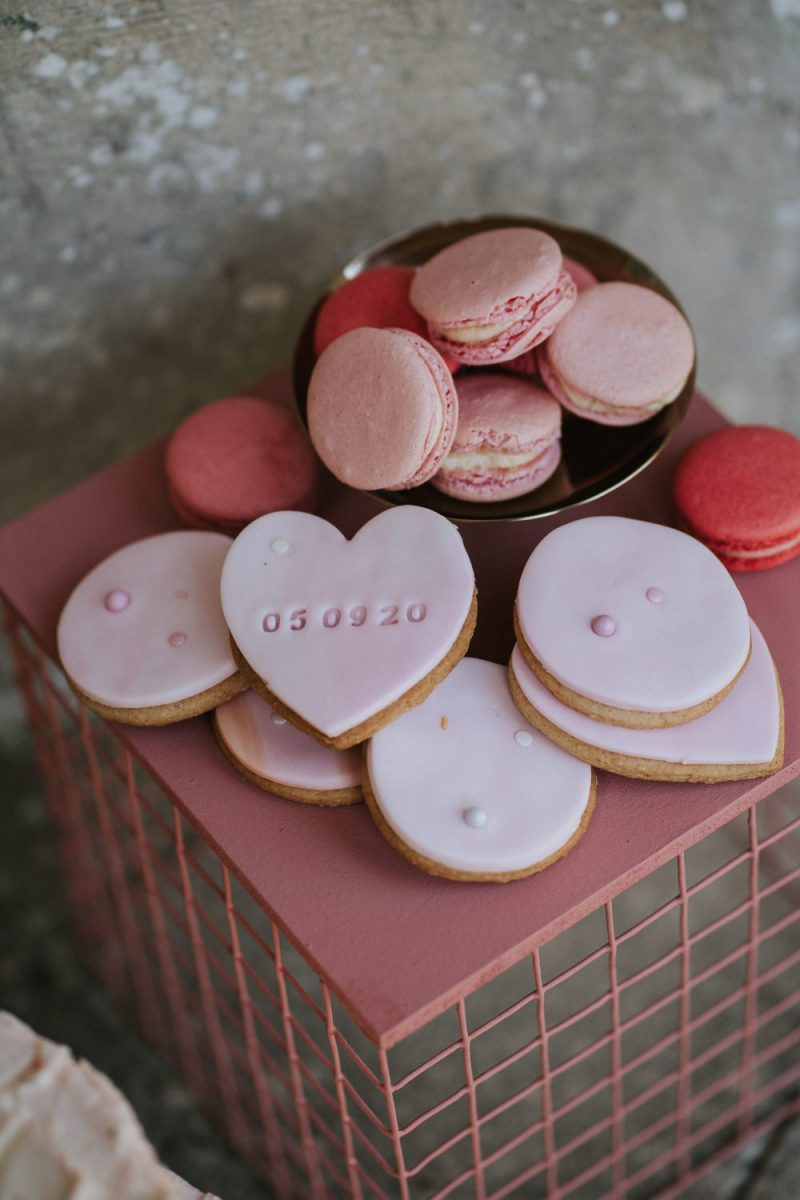 Macarons and cookies with wedding dates were amazing for the wedding dessert table