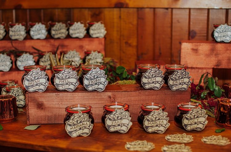 The wedding favors were personalized candles