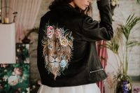 08 A gorgeous painted leather jacket with a lion is another idea of a coverup for a bride