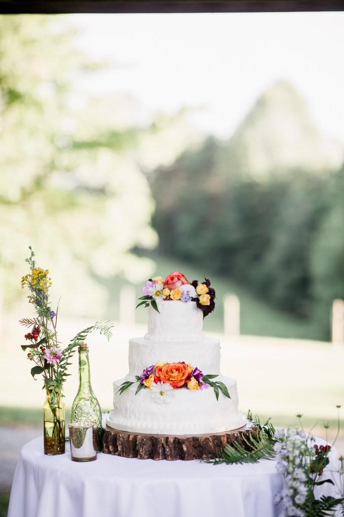 The wedding cake was a white one with bright blooms
