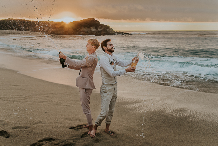 guys popped up some champagne and enjoyed the sunset together