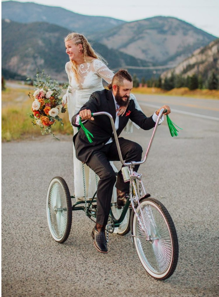This bride's trike caused a lot of fun and entertainment at the wedding