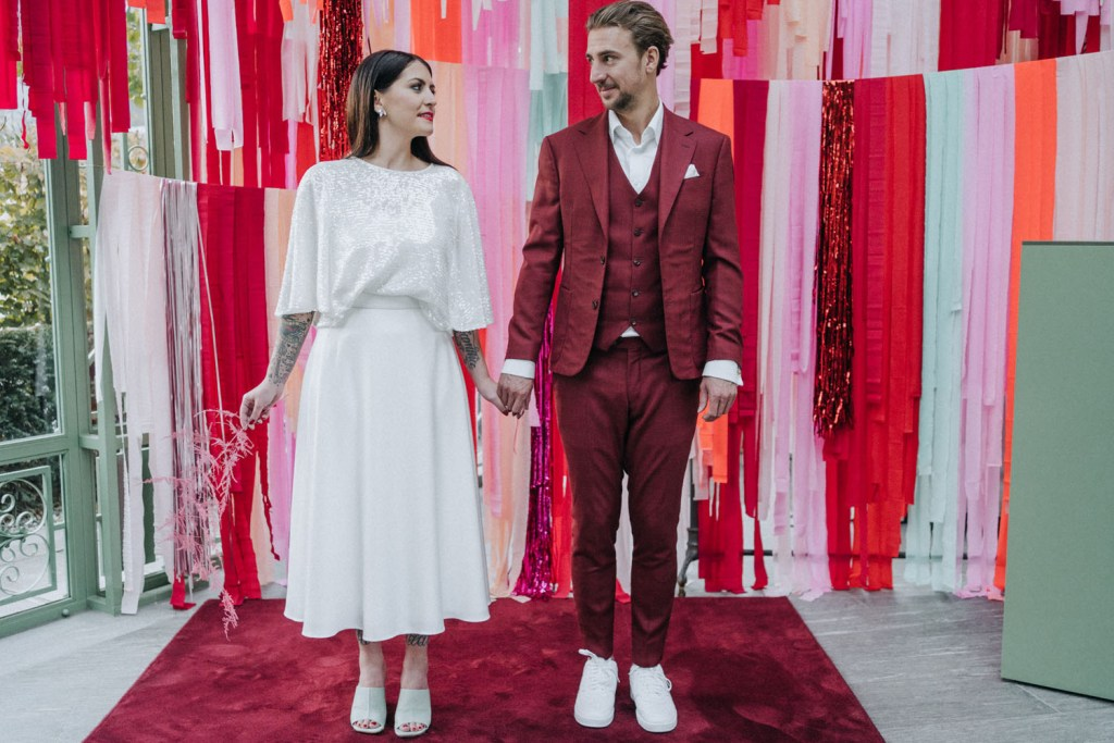 Funky Disco Wedding Shoot In Bright Red And Pink