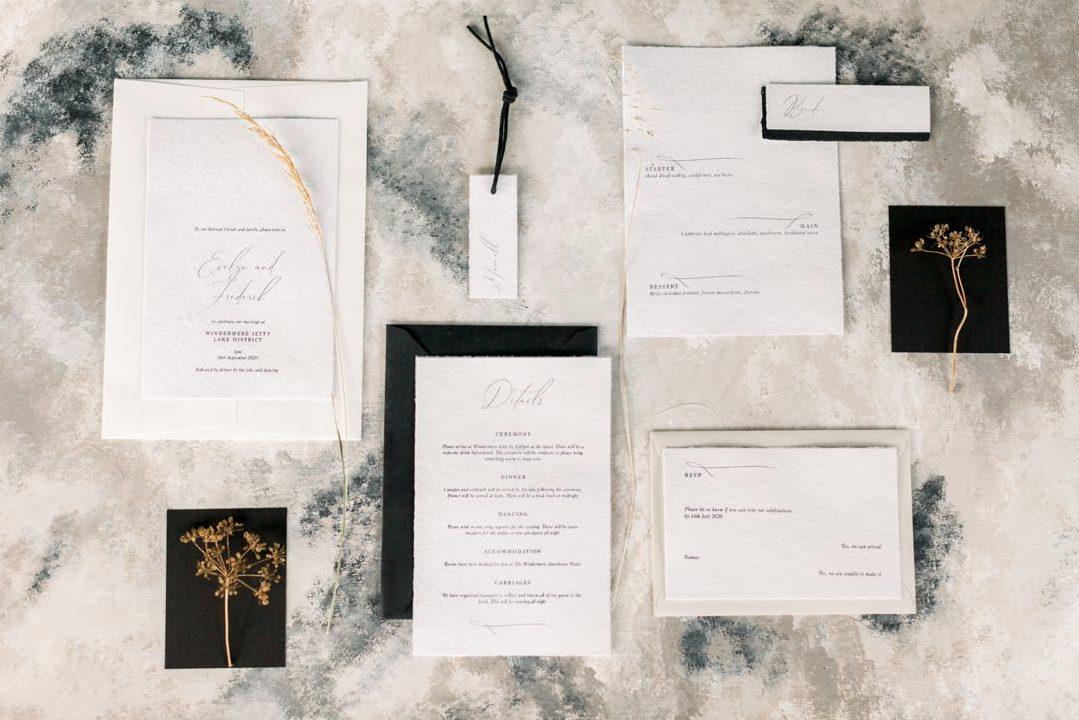 modern b&w wedding stationary