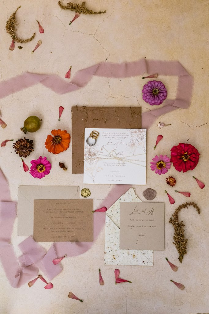 The wedding stationery for the shoot was done neutral, with natural botanical prints and a texture