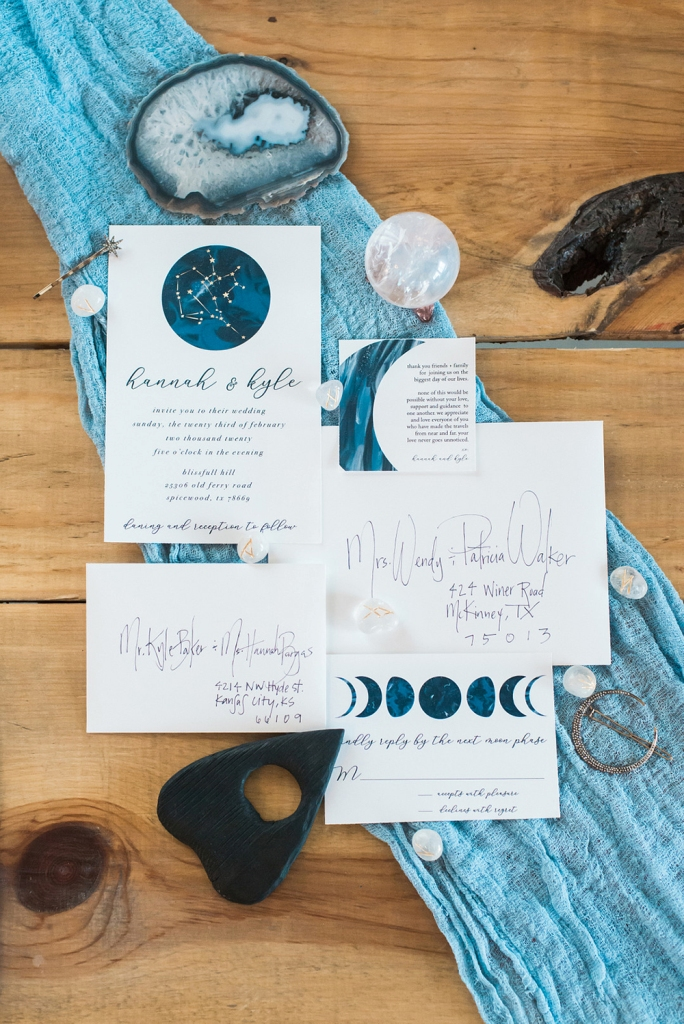 The wedding stationery was done in blues, with celestial touches and geometric ones