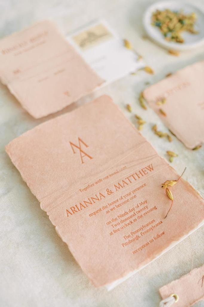 The wedding stationery was done peachy and with chic printing