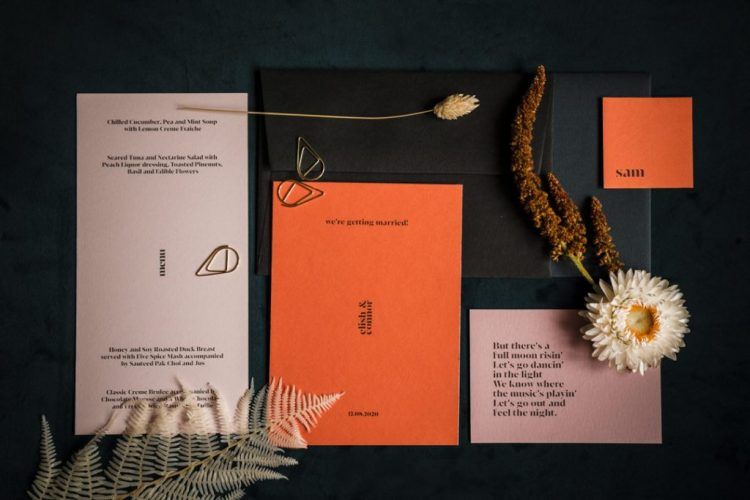 The wedding stationery was super cool, in pink and rust plus black