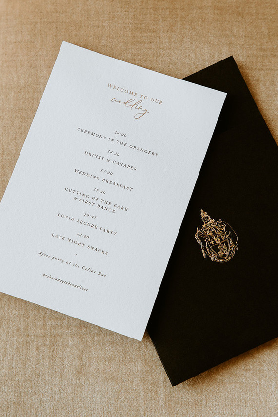 The wedding stationery was super elegant, in black, white and gold