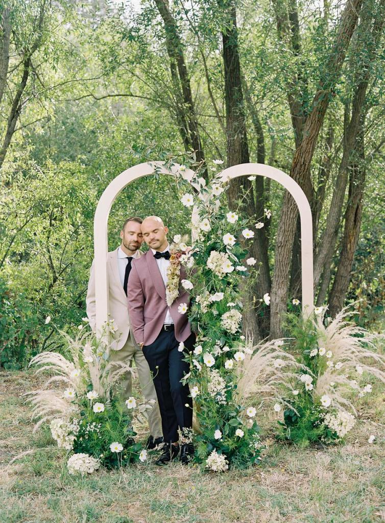 The wedding arch was a double one, with neutral blooms, greenery and pampas grass