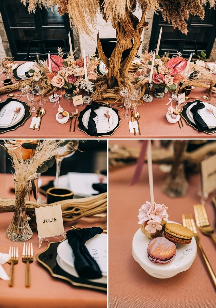 The wedding tablescape was done in fall colors, with a large tree with grass, pink blooms and gold touches