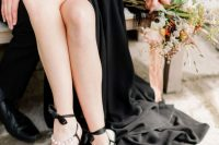 06 Look at these amazing black wedding shoes with pearls and bows