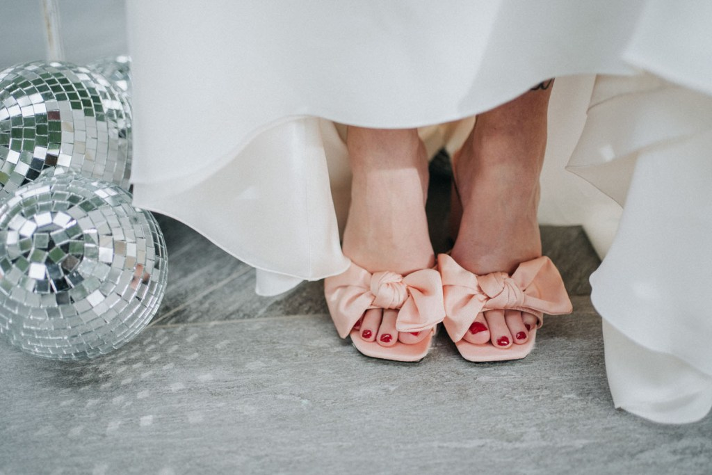The wedding shoes were blush ones
