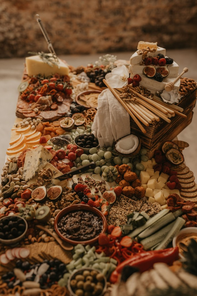 There was a fantastic charcuterie table with all kinds of meat, cheese and fruits and veggies