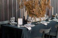 b&w wedding tablescape